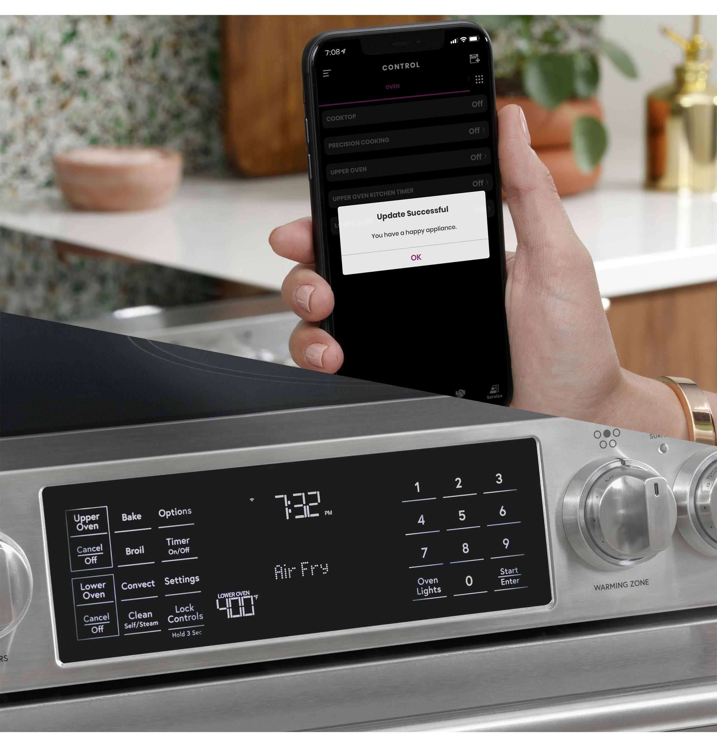 "Model: CES700P2MS1 | Cafe Café™ 30"" Smart Slide-In, Front-Control, Radiant and Convection Range"
