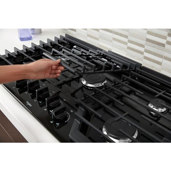Model: WCG55US6HB | Whirlpool 36-inch Gas Cooktop with EZ-2-Lift™ Hinged Cast-Iron Grates