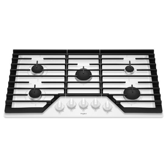 Model: WCG55US6HW   Whirlpool 36-inch Gas Cooktop with EZ-2-Lift™ Hinged Cast-Iron Grates