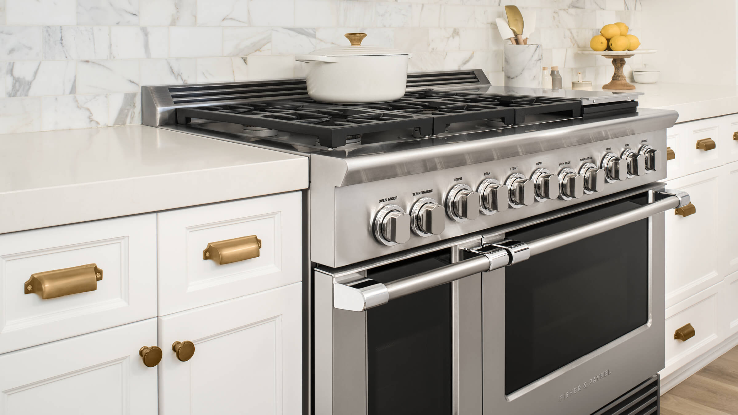 """Model: RDV2-364GD-L_N   Fisher and Paykel Dual Fuel Range, 36"""", 4 Burners with Griddle, LPG"""