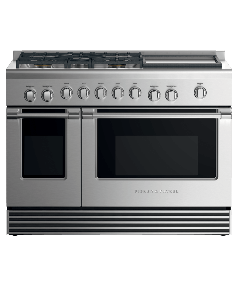 """Model: RDV2-485GD-L_N   Fisher and Paykel Dual Fuel Range, 48"""", 5 Burners with Griddle, LPG"""