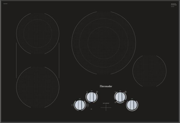 Model: CEM305TB | Thermador CEM305TB, Knob Control Electric Cooktop