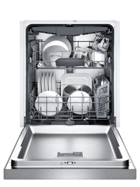 "Model: SHEM63W55N | Bosch 300 Series 24"" Recessed Handle Dishwasher"