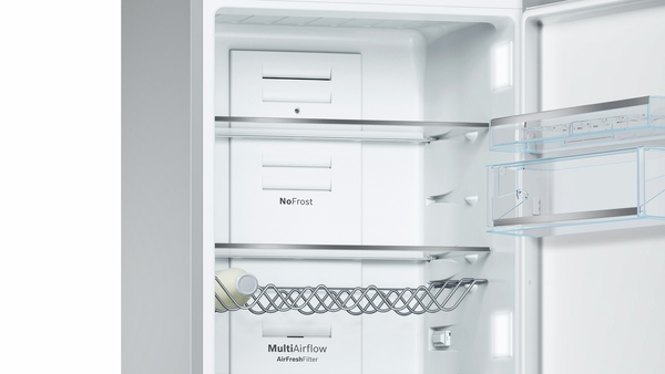 Model: B10CB81NVW | Bosch 800 Series Free-standing fridge-freezer with freezer at bottom, glass door