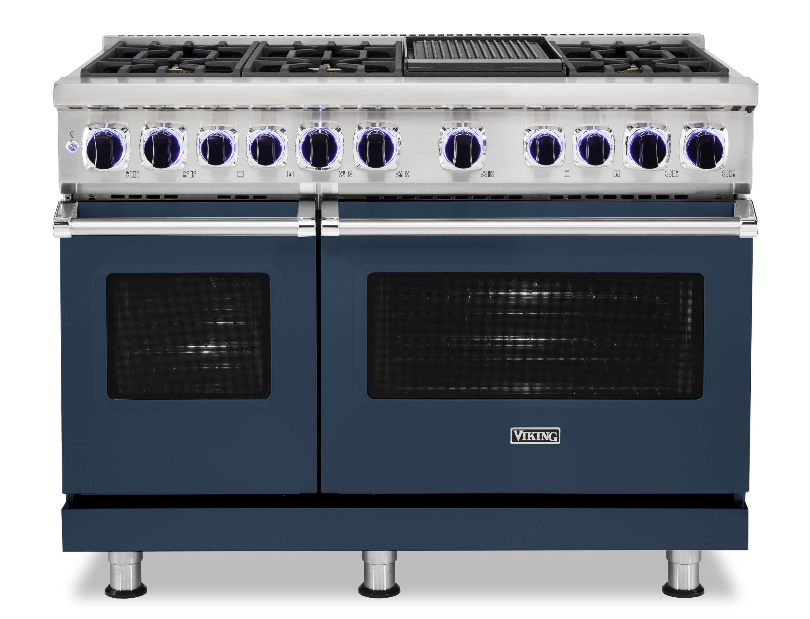 """Viking 48""""W./24""""D. Dual Fuel Sealed Burner Range-6 Burners/Griddle-Slate Blue"""