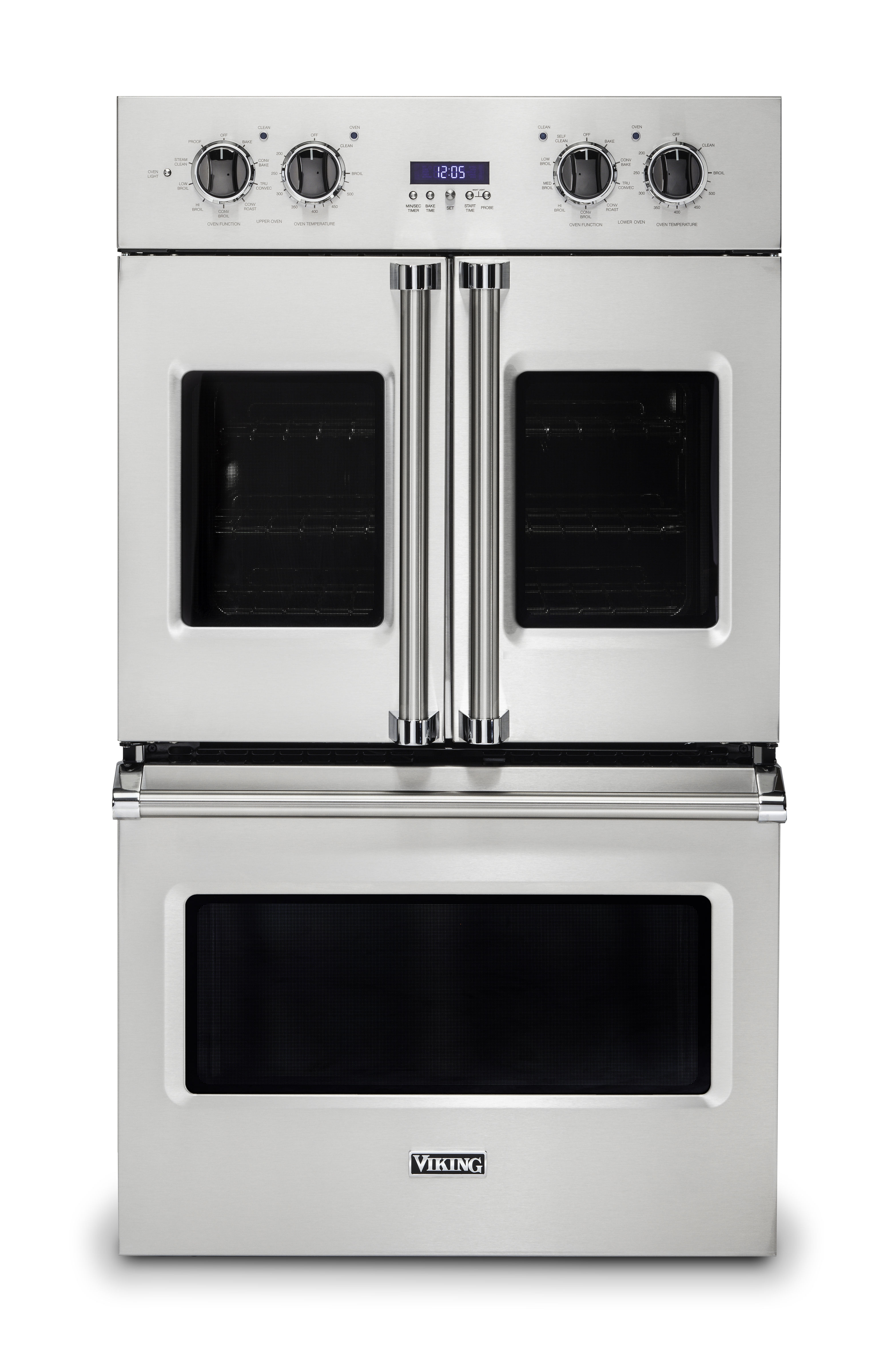 """Viking 30""""W. French-Door Double Built-In Electric Thermal Convection Oven-Stainless"""
