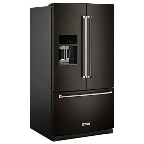 Model: KRFF507HBS | KitchenAid 26.8 cu. ft. 36-Inch Width Standard Depth French Door Refrigerator with Exterior Ice and Water and PrintShield™ Finish