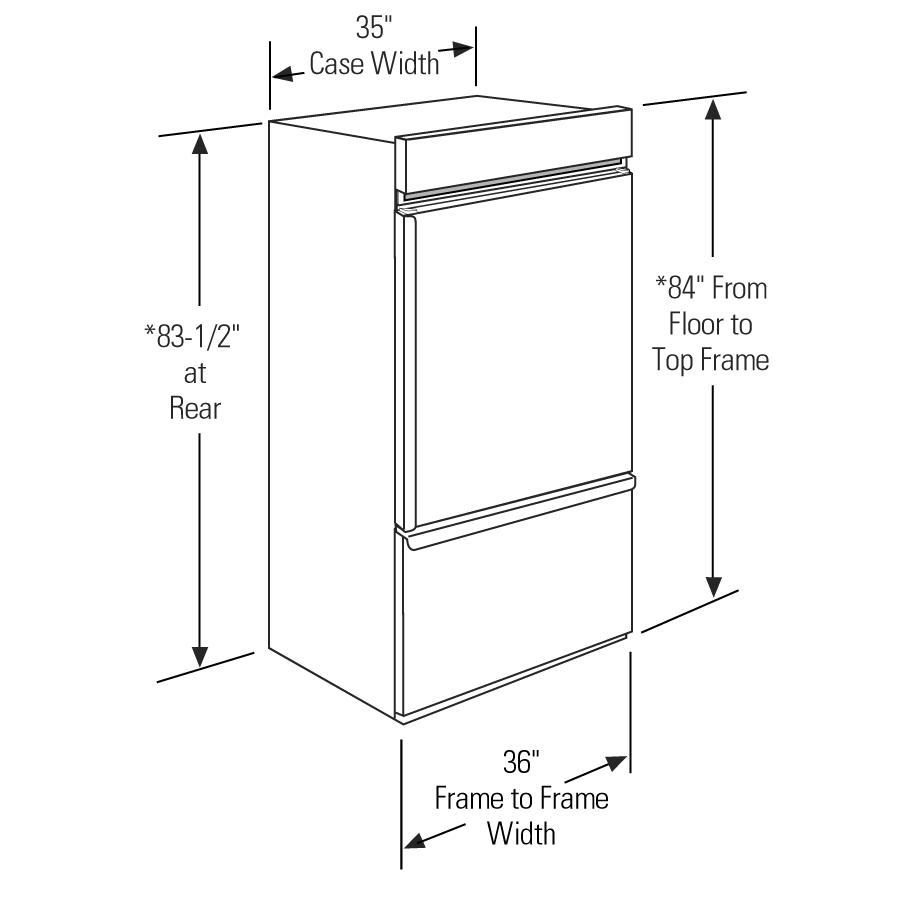 "Model: ZIC360NHLH | Monogram Monogram 36"" Built-In Bottom-Freezer Refrigerator"