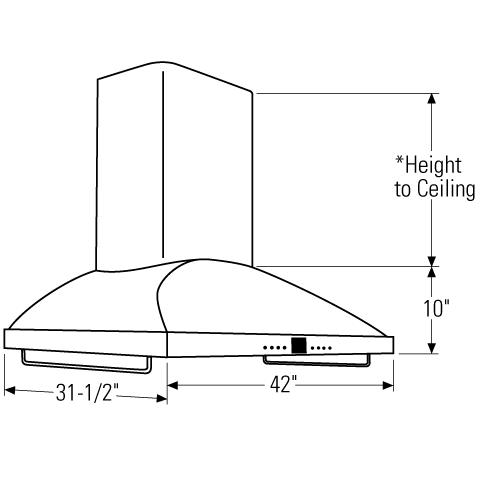 "Model: ZV1050SFSS   Monogram Monogram 42"" High Performance Island Hood"
