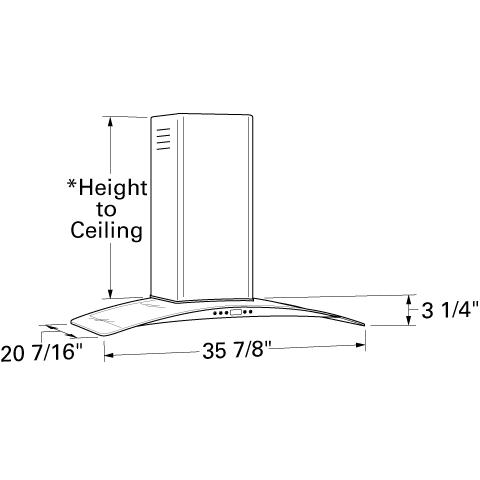 "Model: ZV900SLSS | Monogram Monogram 36"" Glass Canopy Wall-Mounted Hood"