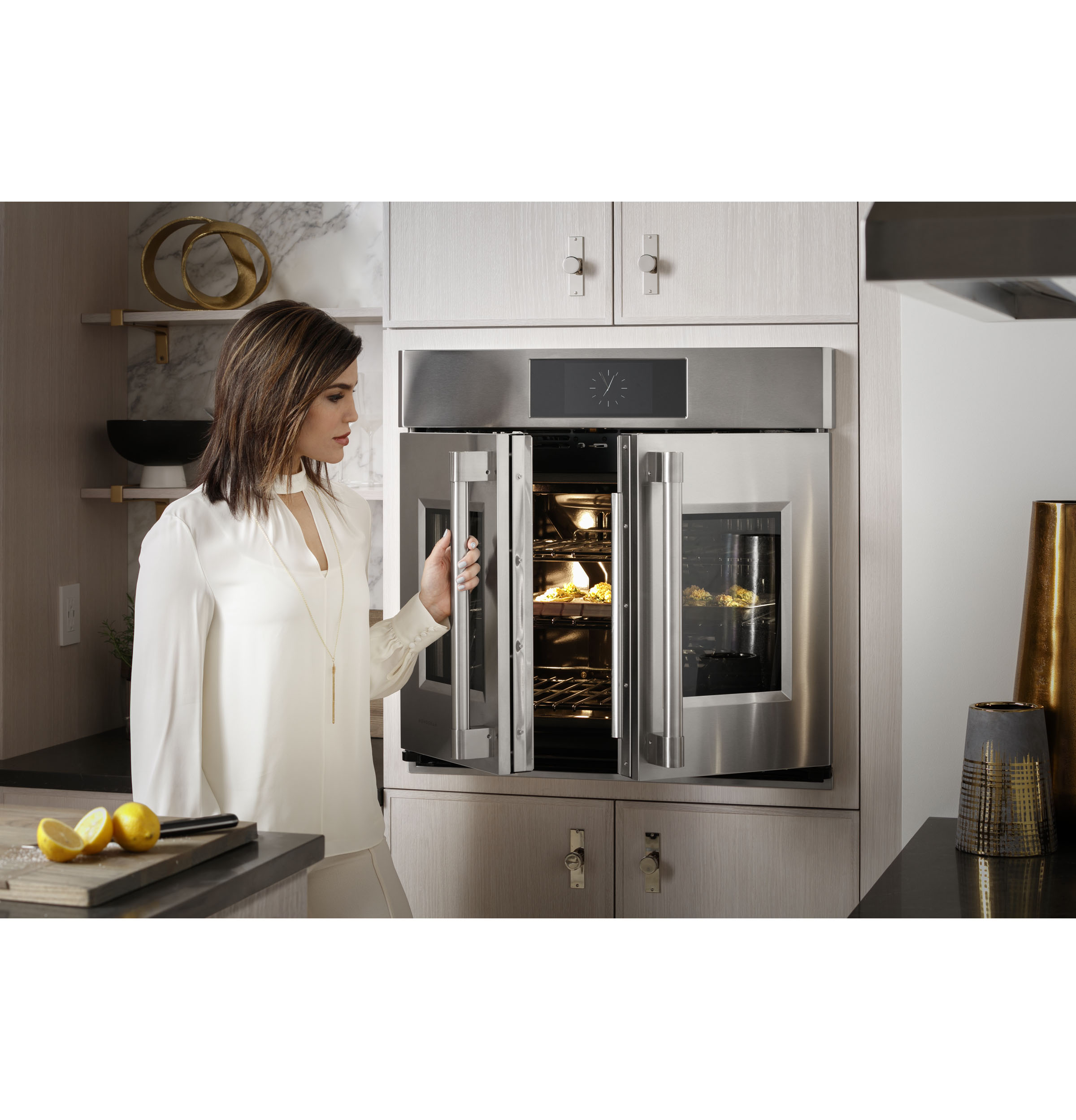"""Model: ZTSX1FPSNSS   Monogram Monogram 30"""" Smart French-Door Electric Convection Single Wall Oven Statement Collection"""