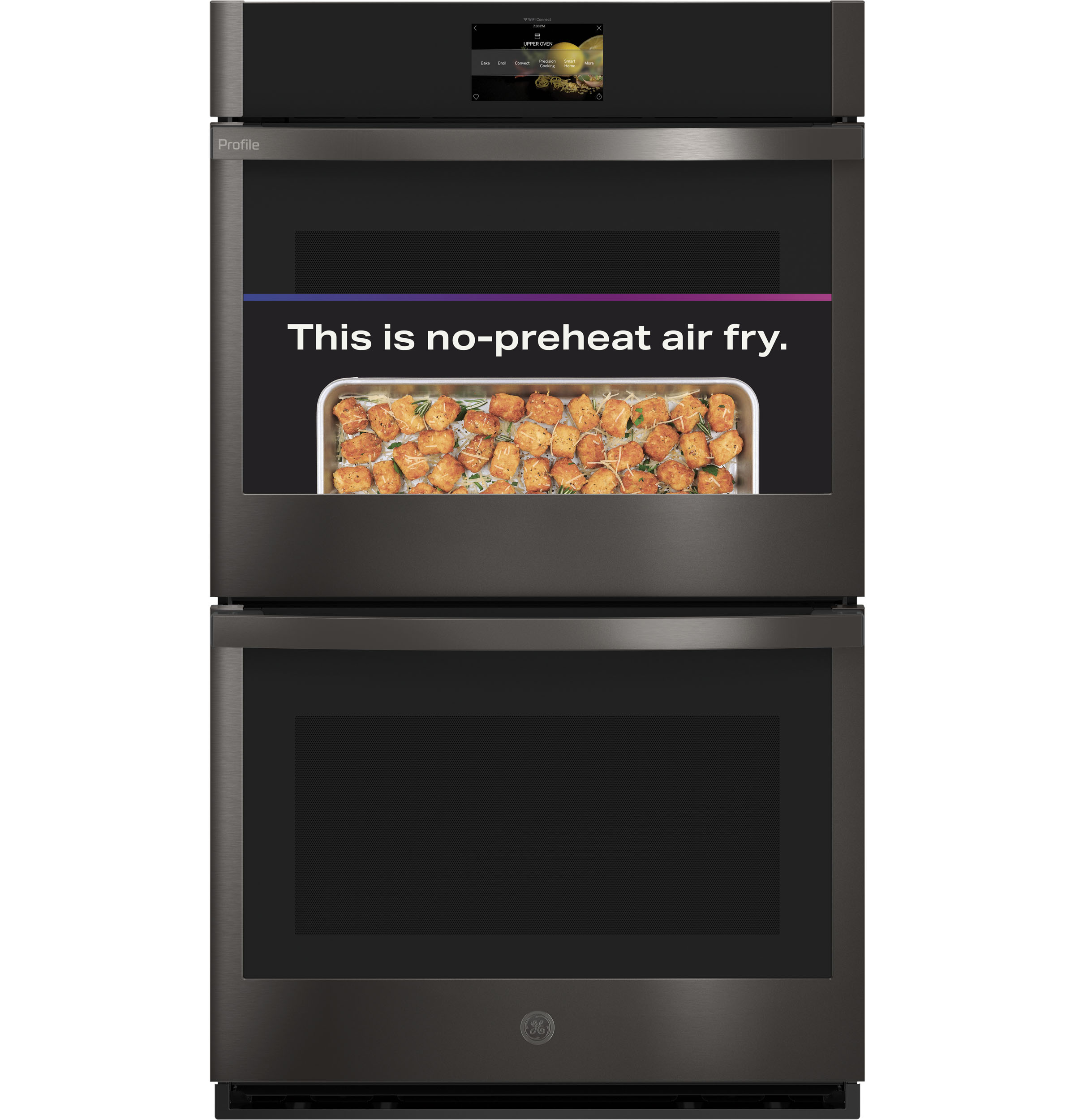 """Model: PTD7000BNTS   GE Profile GE Profile™ 30"""" Smart Built-In Convection Double Wall Oven with No Preheat Air Fry and Precision Cooking"""