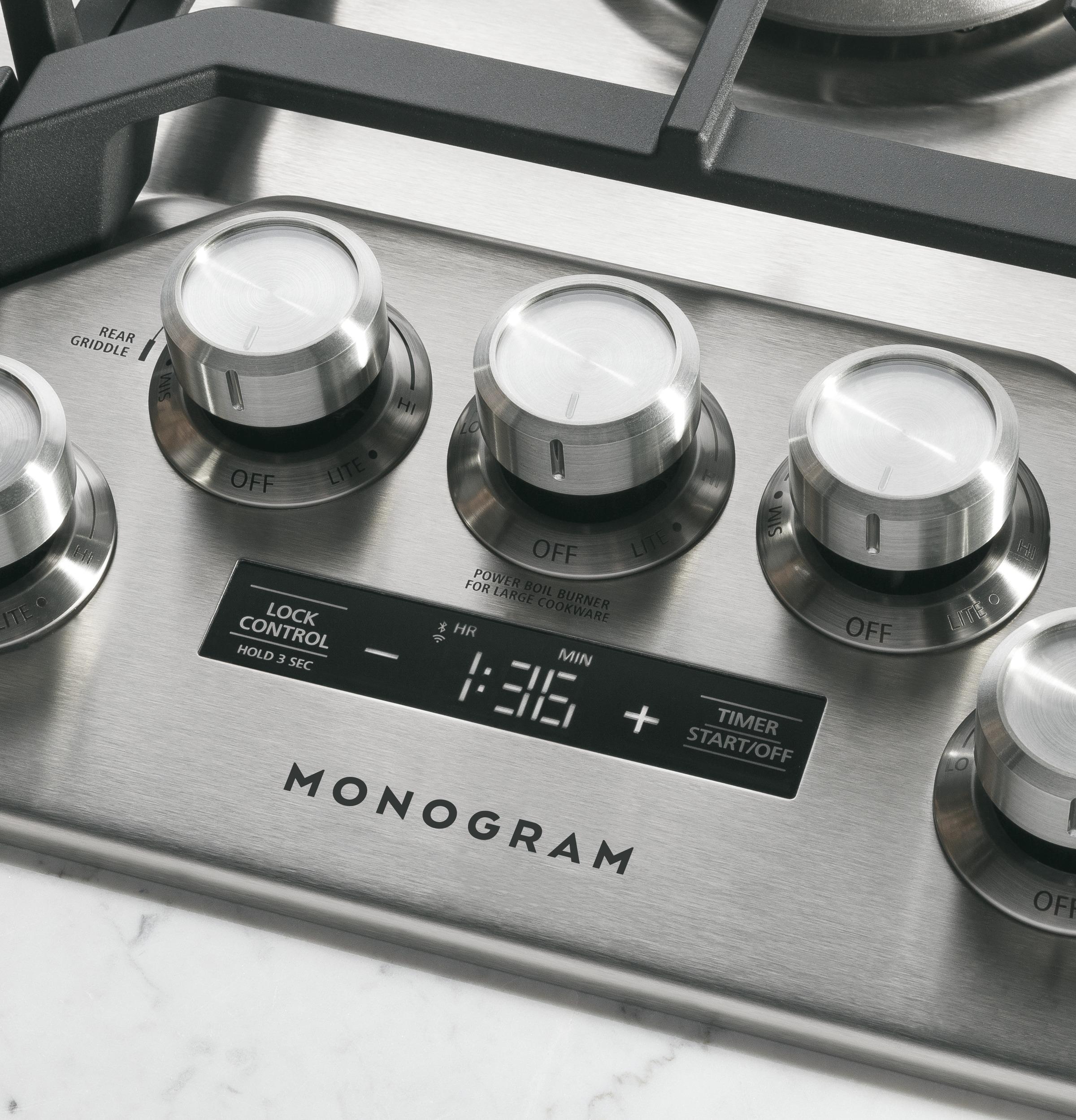 "Model: ZGU36ESLSS | Monogram Monogram 36"" Smart Deep-Recessed Gas Cooktop (Natural Gas)"