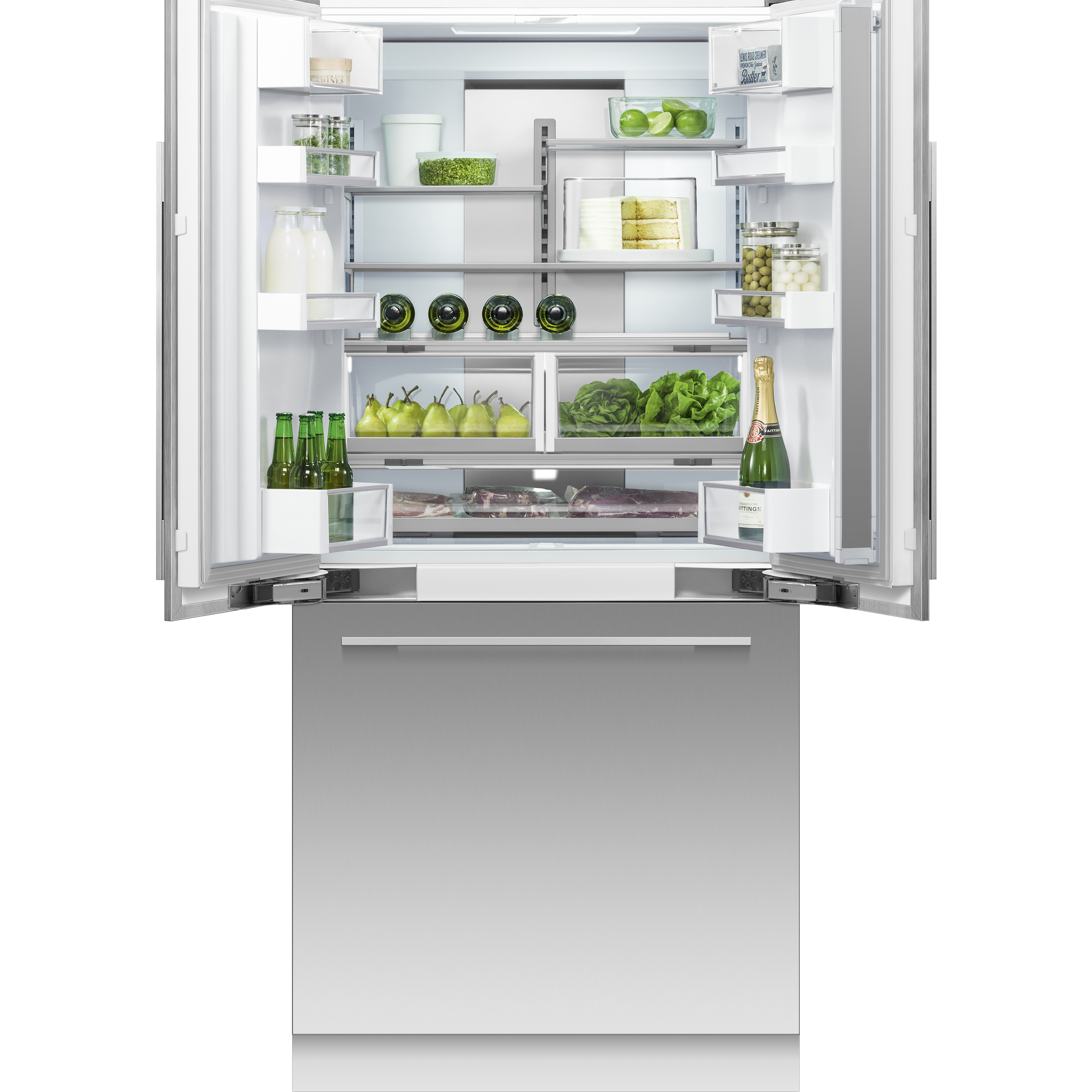 """Fisher and Paykel Integrated French Door Refrigerator Freezer, 36"""", Ice & Water"""