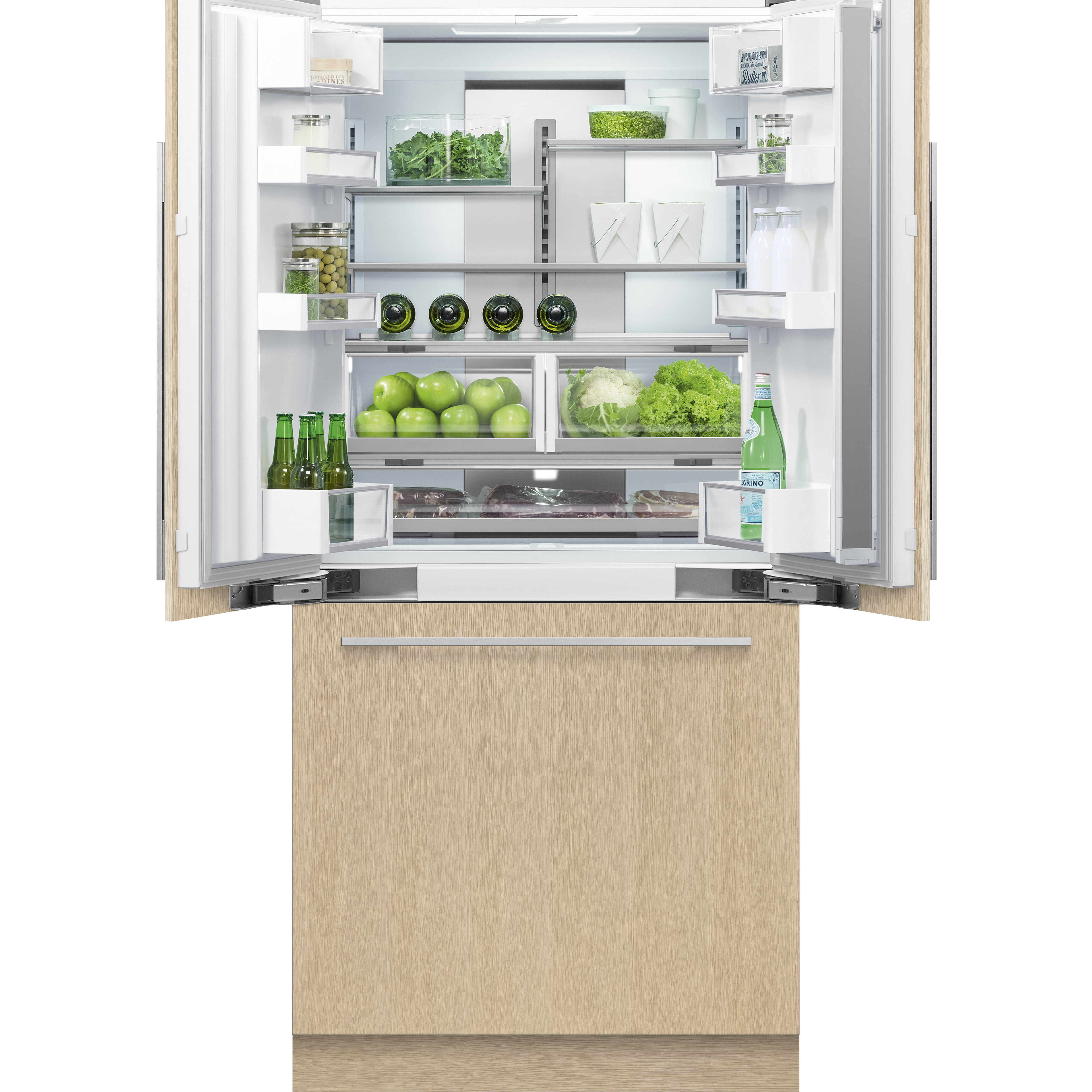 """Fisher and Paykel Integrated French Door Refrigerator Freezer, 36"""", Ice"""