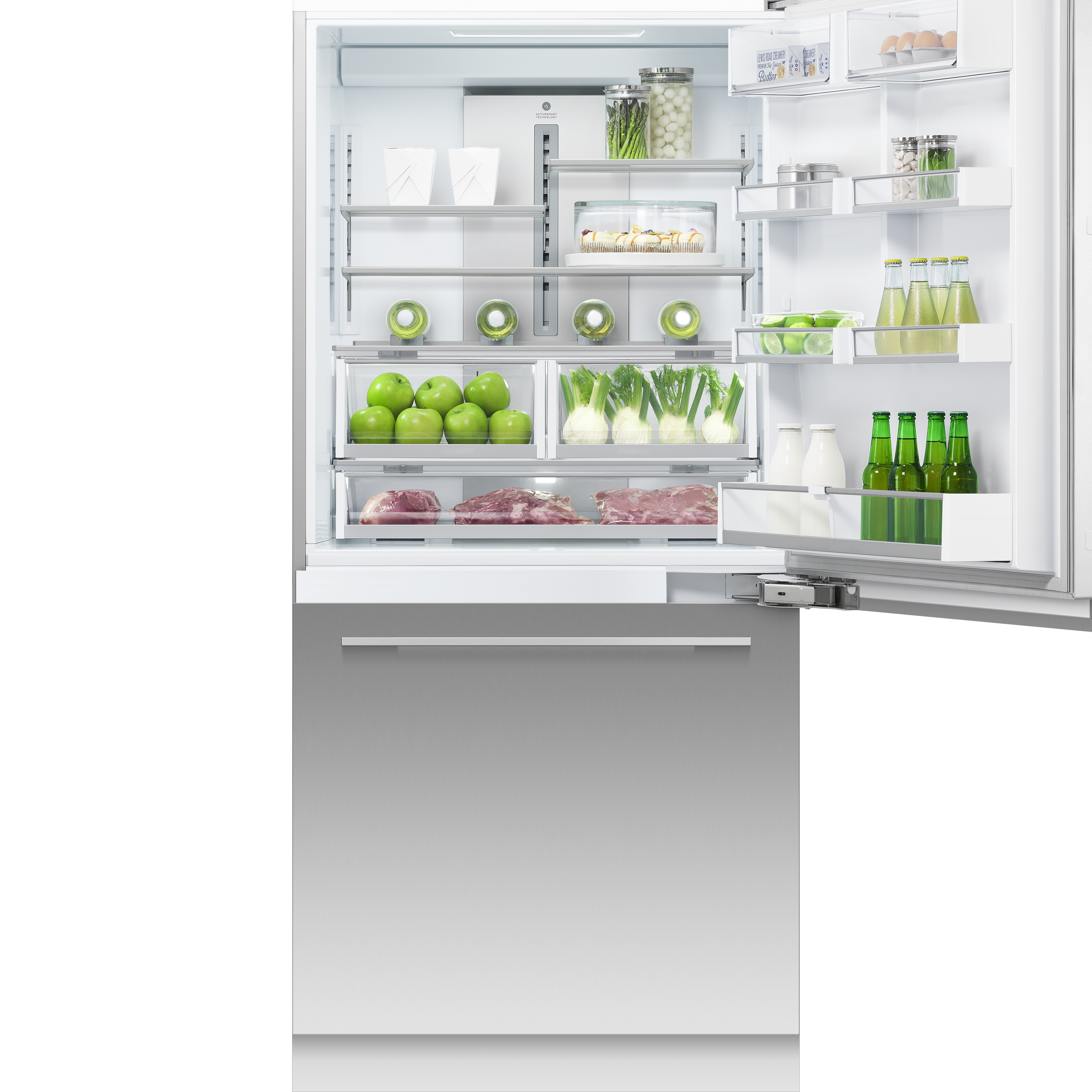 """Fisher and Paykel Integrated Refrigerator Freezer, 36"""", Ice & Water"""