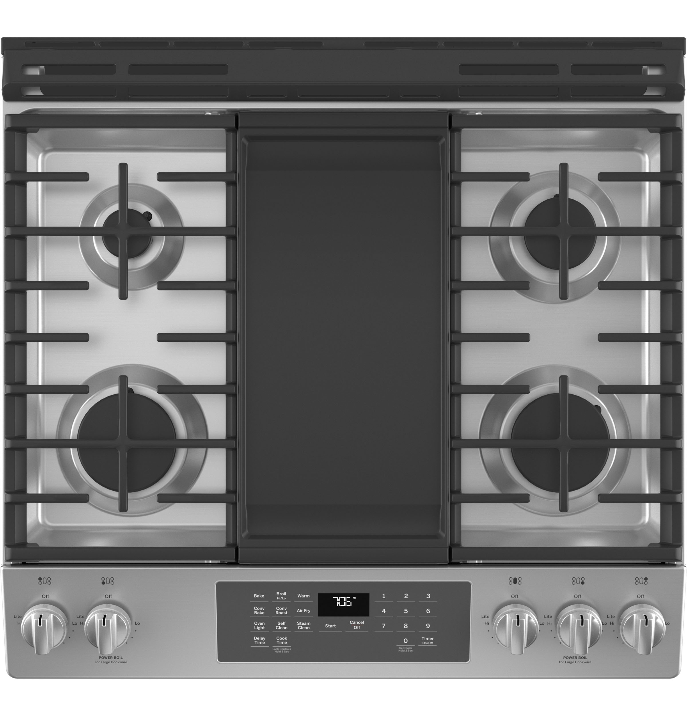 """Model: JGS760SPSS   GE GE® 30"""" Slide-In Front-Control Convection Gas Range with No Preheat Air Fry"""