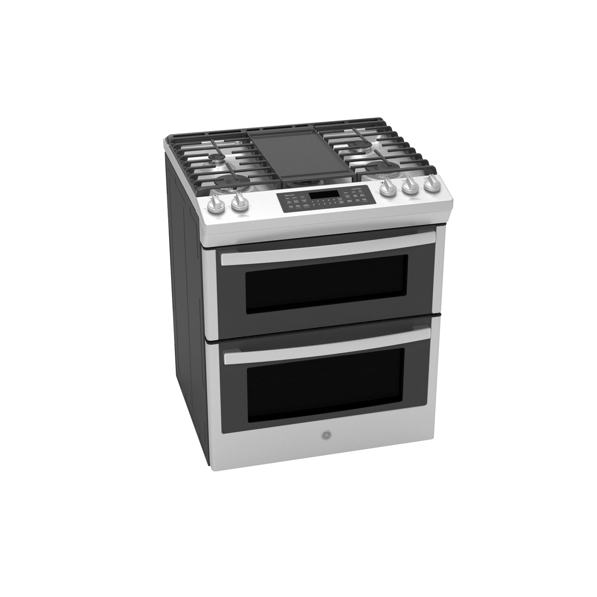 """Model: JGSS86SPSS   GE GE® 30"""" Slide-In Front Control Gas Double Oven Range"""