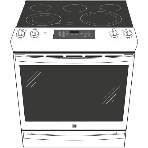 """Model: JS760DPBB   GE GE® 30"""" Slide-In Electric Convection Range with No Preheat Air Fry"""