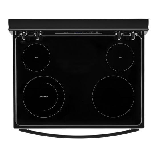 Model: WFE320M0JB | Whirlpool 5.3 cu. ft. electric range with Keep Warm Setting.