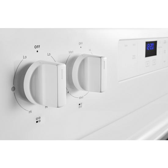 Model: WFE320M0JW | Whirlpool 5.3 cu. ft. electric range with Keep Warm Setting.