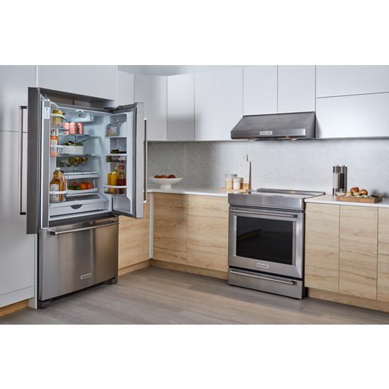 Model: KRFC300ESS | KitchenAid 20 cu. ft. 36-Inch Width Counter-Depth French Door Refrigerator with Interior Dispense