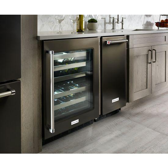 "Model: KRFC704FBS | KitchenAid 23.8 cu. ft. 36"" Counter-Depth French Door Platinum Interior Refrigerator with PrintShield™ Finish"