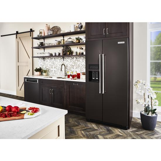 Model: KRSC703HBS | KitchenAid 22.6 cu ft. Counter-Depth Side-by-Side Refrigerator with Exterior Ice and Water and PrintShield™ finish