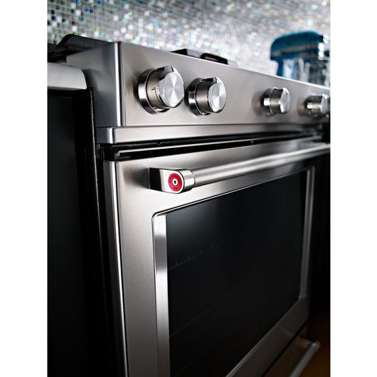 Model: KSDB900ESS   KitchenAid 30-Inch 5-Burner Dual Fuel Convection Slide-In Range with Baking Drawer