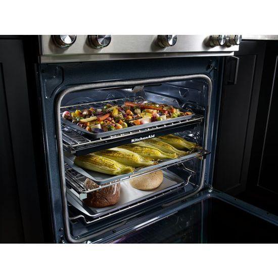 Model: KSGB900ESS | KitchenAid 30-Inch 5 Burner Gas Convection Slide-In Range with Baking Drawer