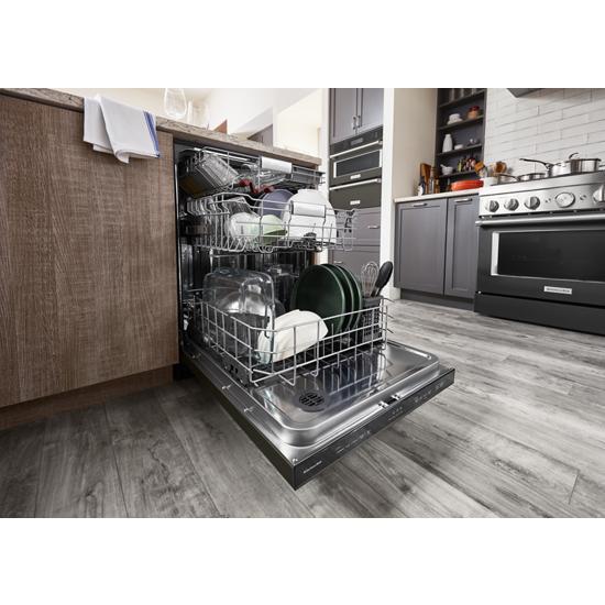 Model: KDTM404KBS | KitchenAid 44 dBA Dishwasher in PrintShield™ Finish with FreeFlex™ Third Rack