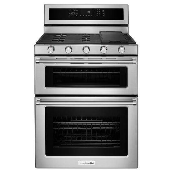 Model: KFGD500ESS | KitchenAid 30-Inch 5 Burner Gas Double Oven Convection Range