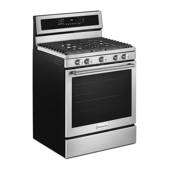 Model: KFGG500ESS   KitchenAid 30-Inch 5-Burner Gas Convection Range