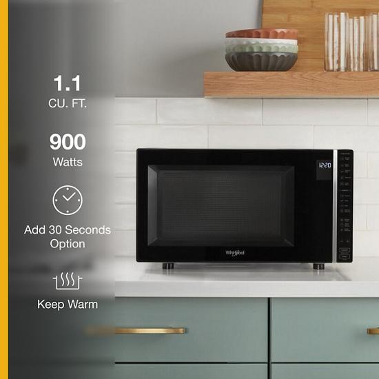 Model: WMC30311LB | Whirlpool 1.1 Cu. Ft. Capacity Countertop Microwave with 900 Watt Cooking Power