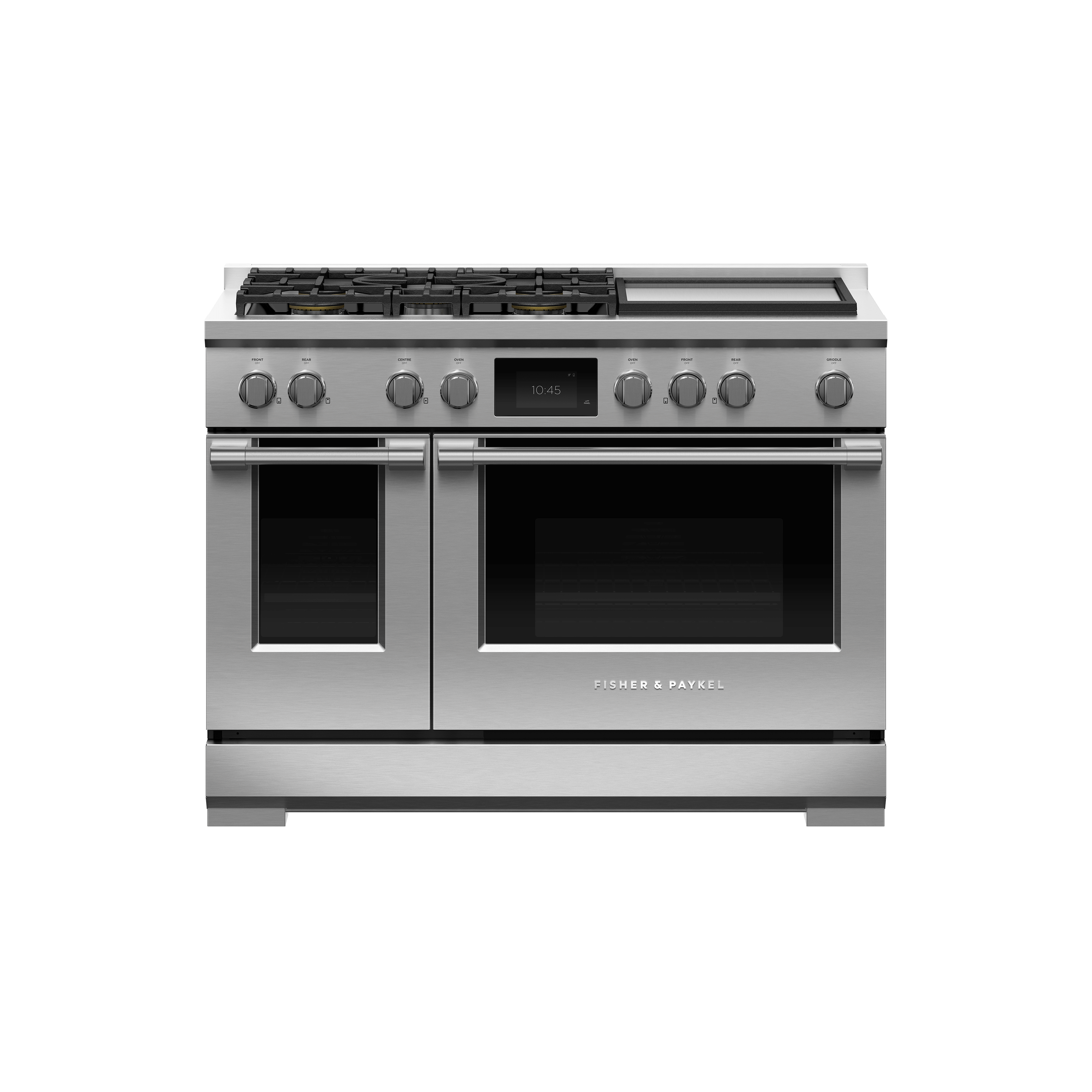 """Fisher and Paykel Dual Fuel Range, 48"""", 5 Burners with Griddle, Self-cleaning, LPG"""