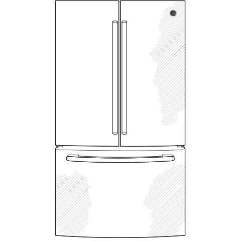 Model: GWE19JGLWW | GE GE® ENERGY STAR® 18.6 Cu. Ft. Counter-Depth French-Door Refrigerator
