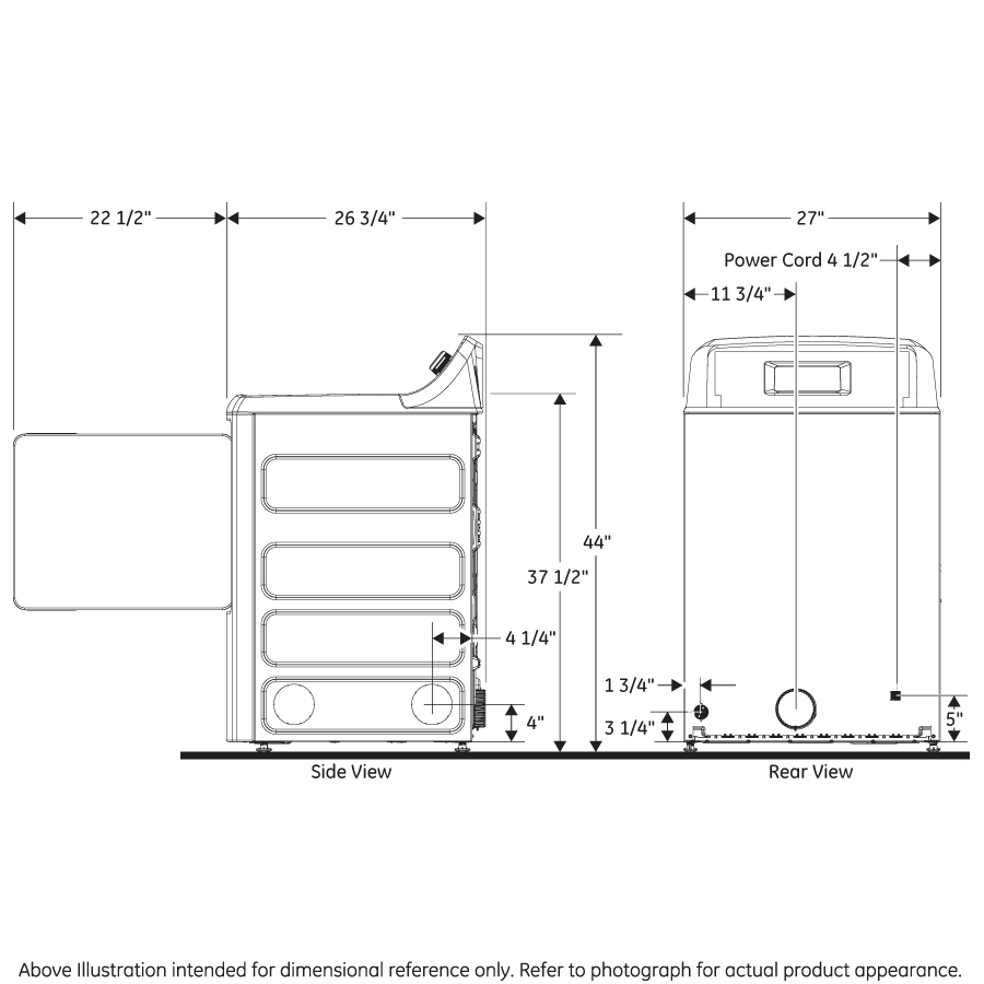 Model: GTX42GASJWW | GE GE® 6.2 cu. ft. Capacity aluminized alloy drum Gas Dryer