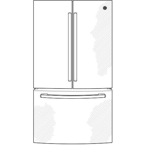 Model: GWE19JSLSS | GE GE® ENERGY STAR® 18.6 Cu. Ft. Counter-Depth French-Door Refrigerator