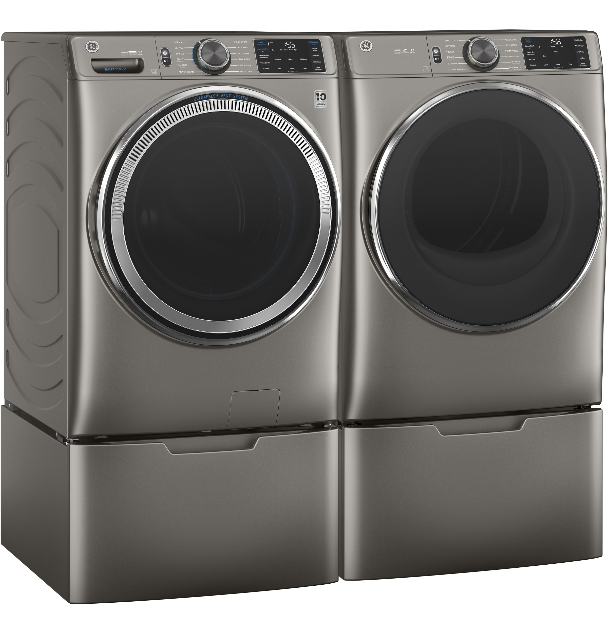 Model: GFD65GSPNSN   GE GE® 7.8 cu. ft. Capacity Smart Front Load Gas Dryer with Steam and Sanitize Cycle