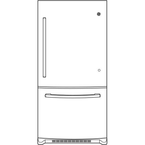 Model: GBE21DGKBB   GE GE® ENERGY STAR® 21.0 Cu. Ft. Bottom-Freezer Refrigerator