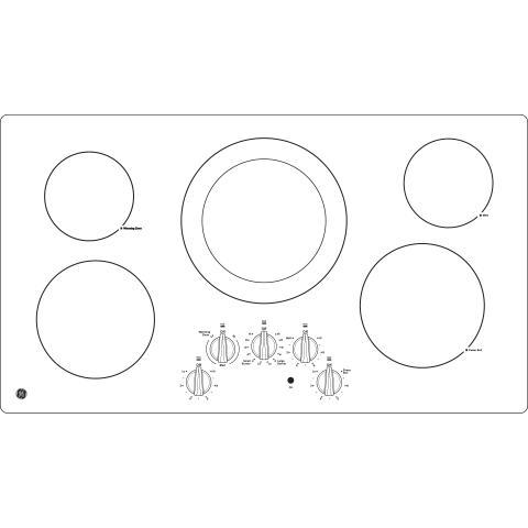 "Model: JP3036DLBB   GE GE® 36"" Built-In Knob Control Electric Cooktop"