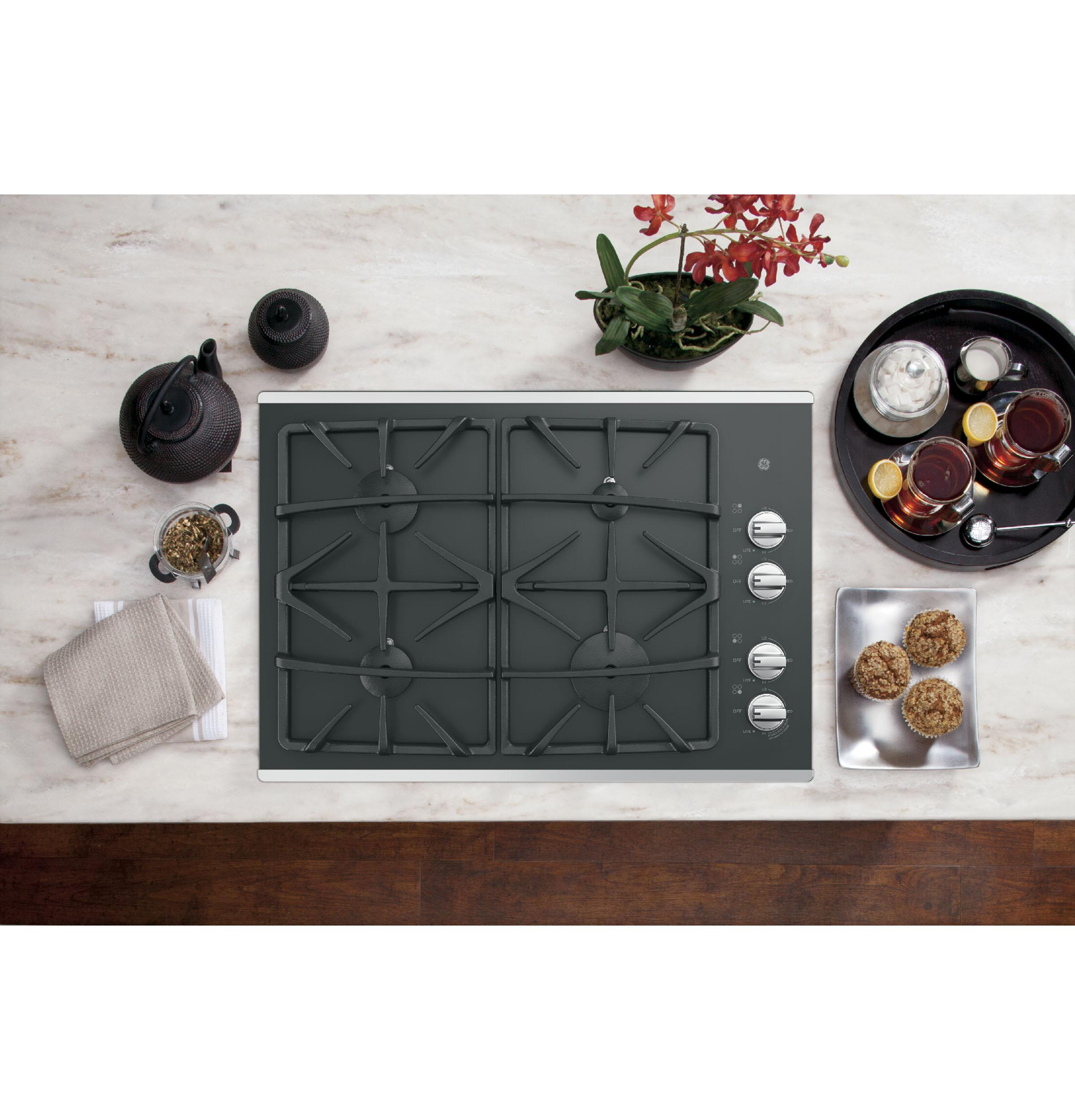 "Model: JGP5530SLSS | GE GE® 30"" Built-In Gas on Glass Cooktop with Dishwasher Safe Grates"