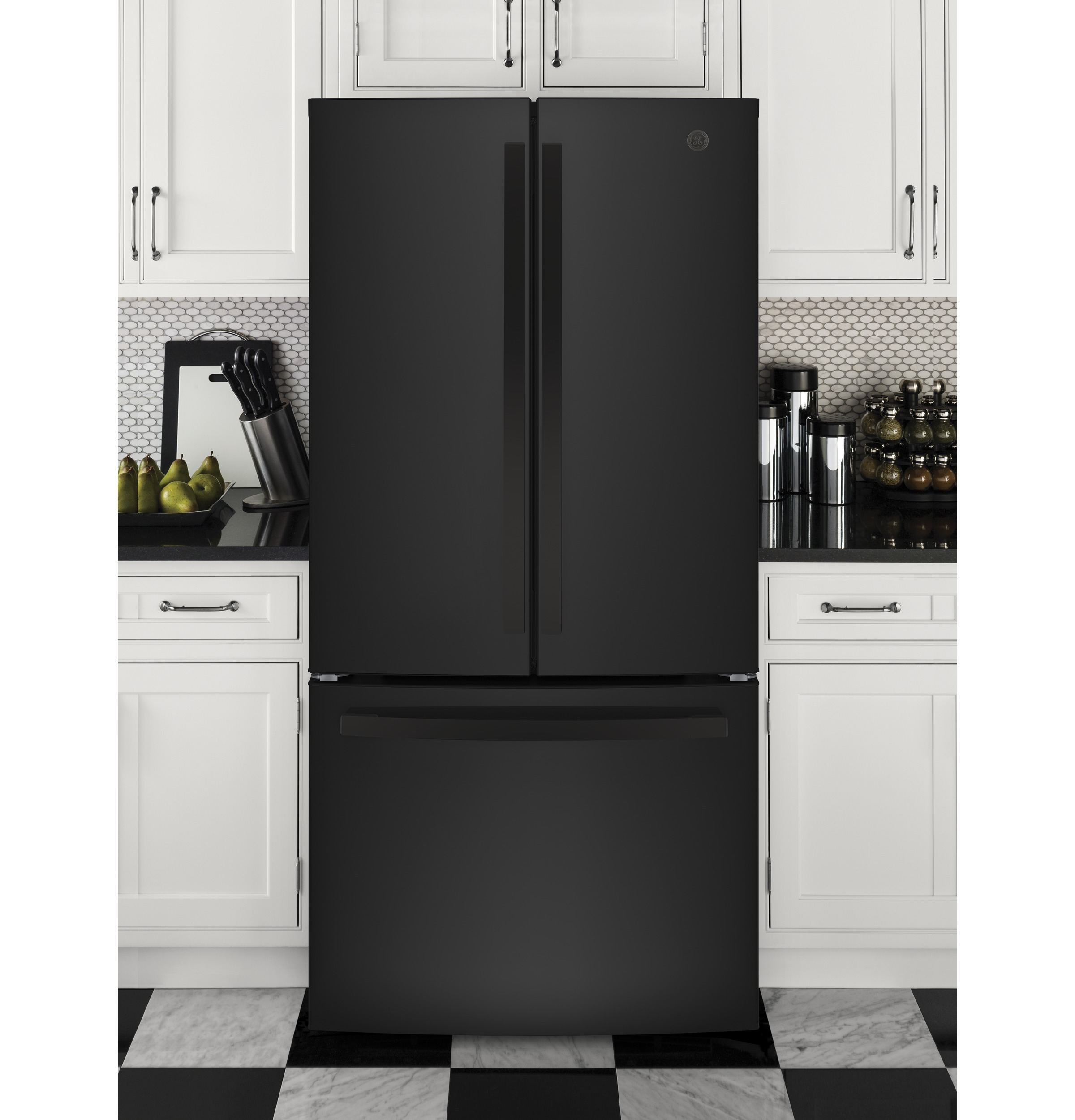 Model: GNE25JGKBB | GE GE® ENERGY STAR® 24.7 Cu. Ft. French-Door Refrigerator