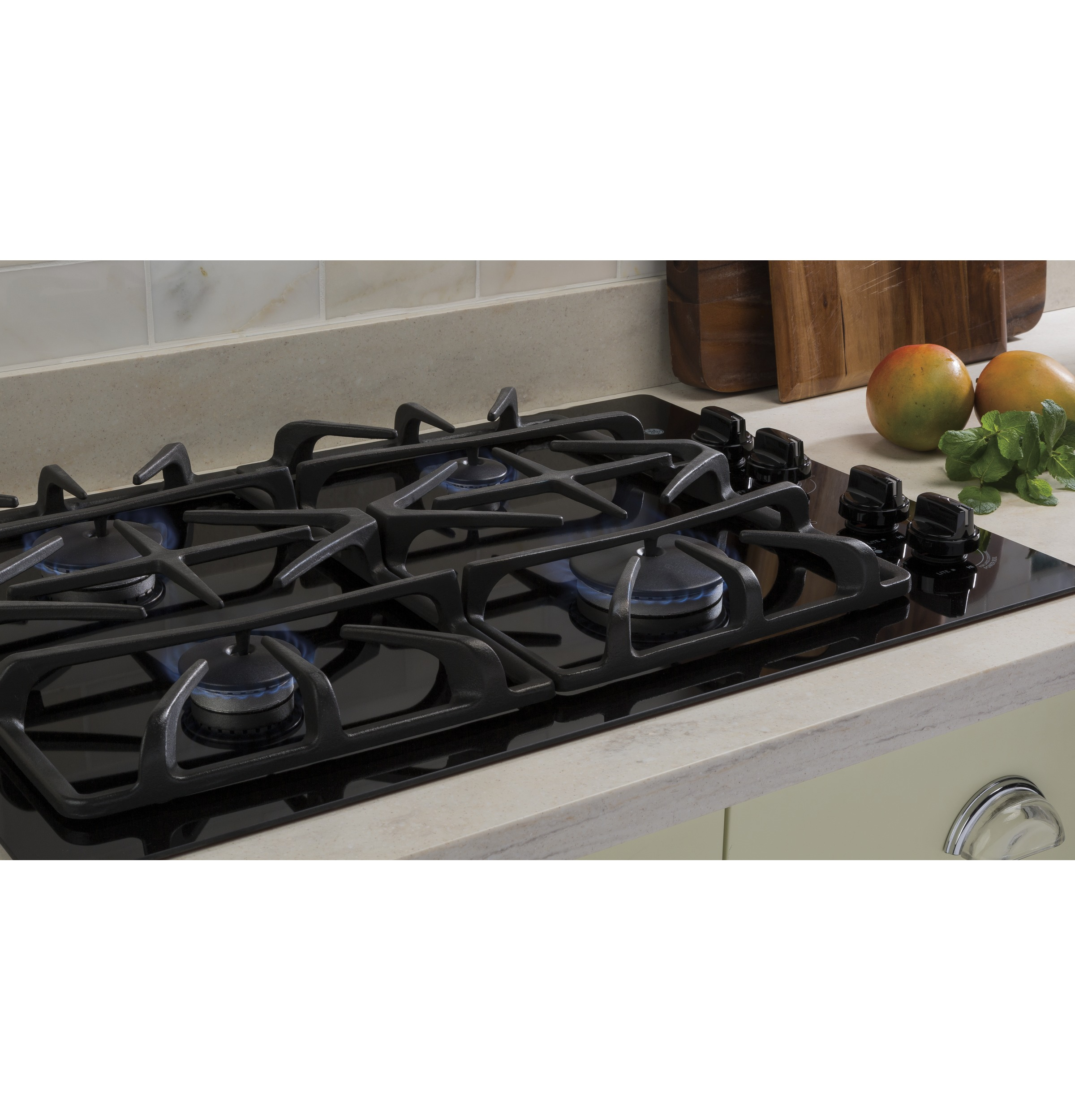 "Model: JGP5530DLBB | GE GE® 30"" Built-In Gas on Glass Cooktop with Dishwasher Safe Grates"