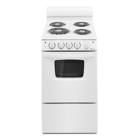 Model: AEP222VAW   Amana 20-inch Electric Range Oven with Versatile Cooktop