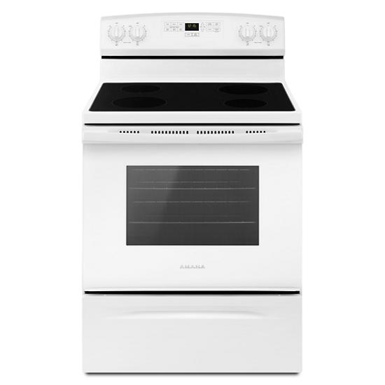 Model: AER6303MFW   Amana 30-inch Electric Range with Extra-Large Oven Window