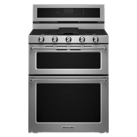 KitchenAid 30-Inch 5 Burner Gas Double Oven Convection Range