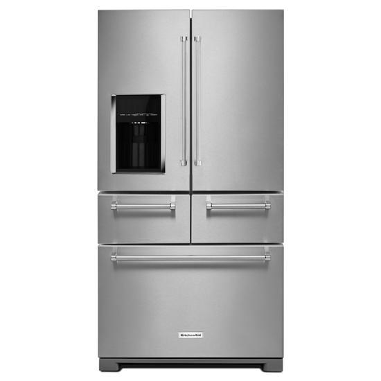 """KitchenAid 25.8 Cu. Ft. 36"""" Multi-Door Freestanding Refrigerator with Platinum Interior Design"""
