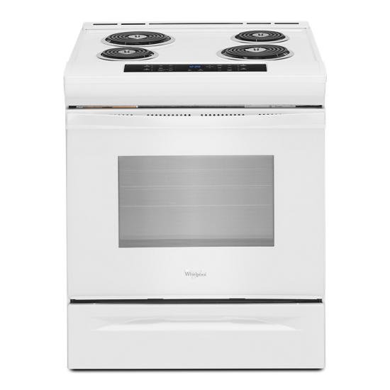 Model: WEC310S0FW   Whirlpool 4.8 cu. ft. Guided Electric Front Control Coil Range