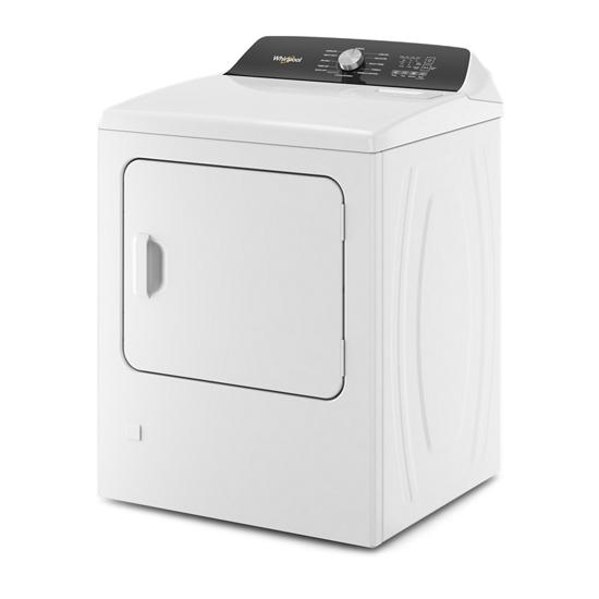 Model: WGD5050LW | Whirlpool 7.0 Cu. Ft. Top Load Gas Moisture Sensing Dryer with Steam